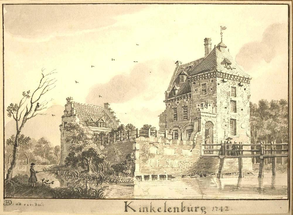 Kasteel De Kinkelenburg in Bemmel. Tekening Jan de Beijer, 1742